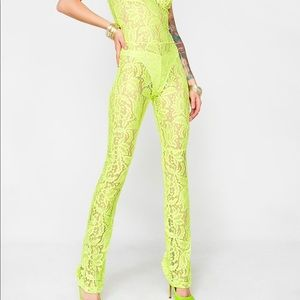 9489f08ecedb PrettyLittleThing Pants - Neon green lace jumpsuit